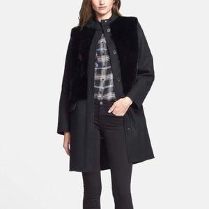 Vince Rabbit Fur Paneled Coat